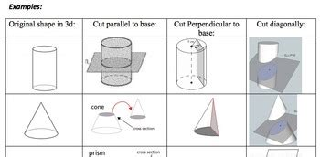 cross section of a 3d shape cross sections of 3 d shapes worksheet by math maker tpt