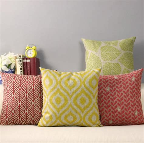 home decor cushions geometry pillow diamond red yellow leaves pillow cushion