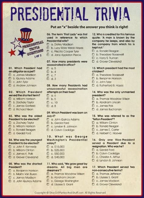 printable election bookmarks printable presidential trivia for president s day