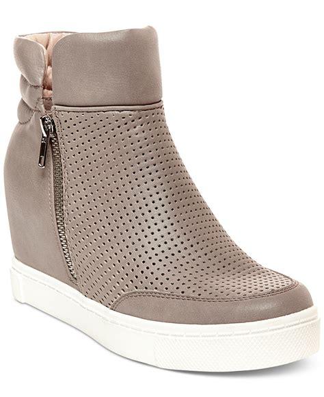 steve madden heeled sneakers steve madden s linqsp wedge sneakers in brown lyst