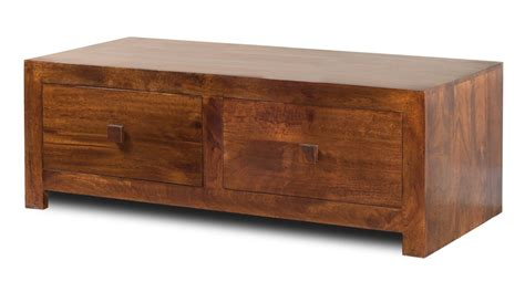 solid mango wood four drawer coffee table casa