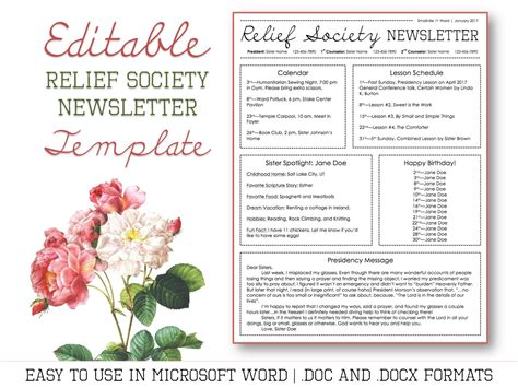 Relief Society Newsletter Template For Microsoft Word Relief Society Newsletter Template Free