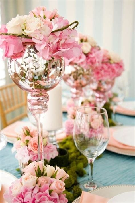 flower stands for centerpieces pretty pink flowers on mercury glass stands for centerpieces