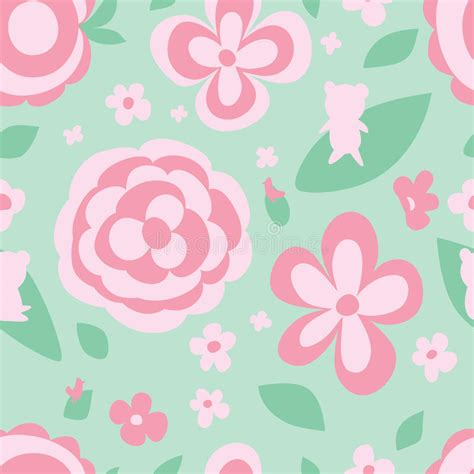vector pattern pastel free flower pastel color green seamless pattern stock vector