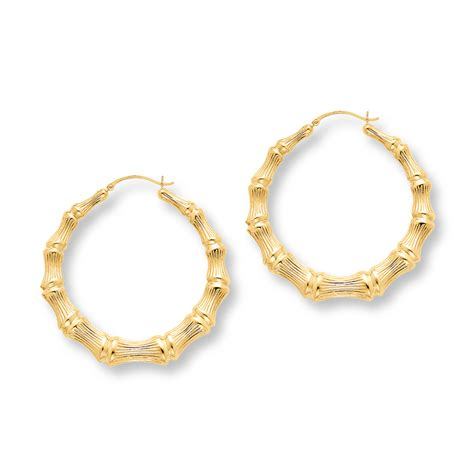 14k gold for jewelry bamboo hoop earrings large 14k yellow gold