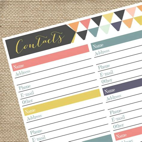 printable phone book template printable address book pdf contact tracker by