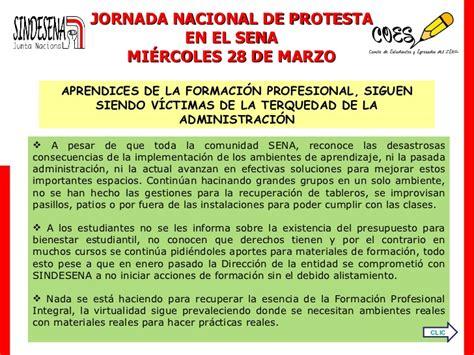28 de marzo 01 convocatoria jornada de protesta en el sena 28 de marzo