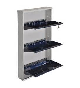 three door metal shoe rack blue colour by furniturekraft