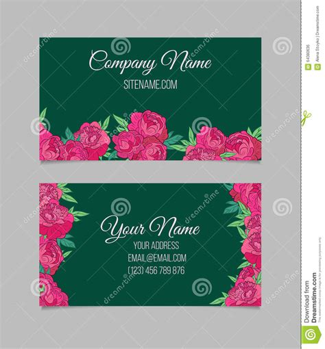 i am beautiful because card template beautiful floral business cards stock vector