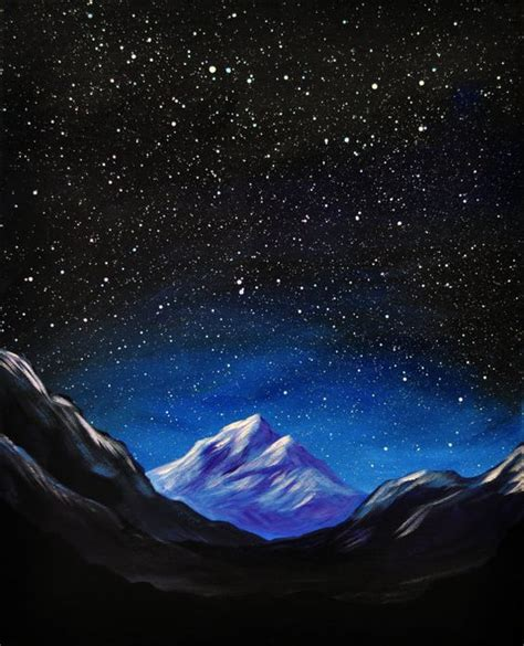 acrylic painting space space mountain original acrylic landscape painting by