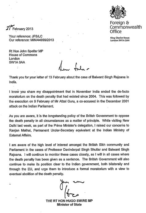 Official Letter Format To Government India Uk Government Confirms Opposition To Penalty In Inida Bhullar And Rajoana Cases Find