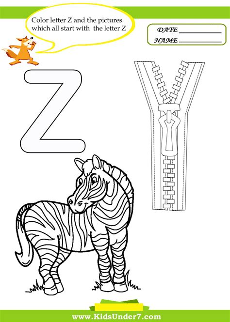 Starting With Letter Z free coloring pages of things that start with z