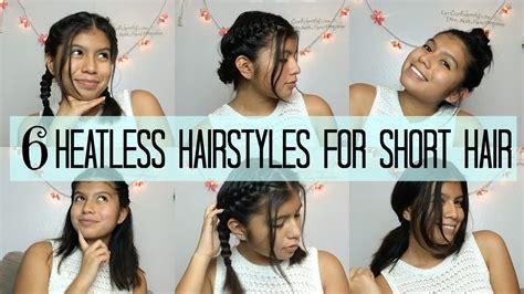 heatless hairstyles for short hair 6 heatless hairstyles for short hair bts youtube