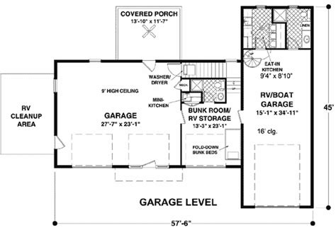 deck floor plan rv garage with observation deck 20083ga architectural