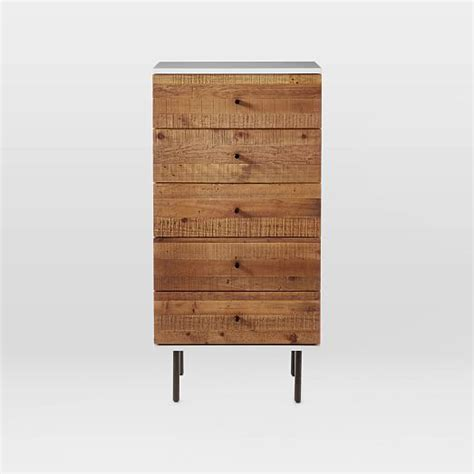 alexa reclaimed wood 5 drawer dresser reclaimed wood lacquer 5 drawer dresser west elm