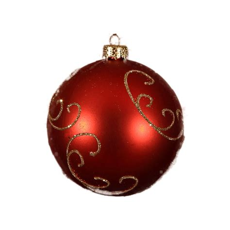 red gold glitter swirl bauble 8cm 6pk christmas