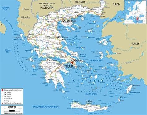 greece on map detailed clear large road map of greece ezilon maps