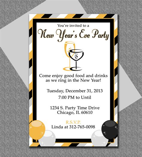 New Years Eve Party Invitation Editable Template New Years Ticket Template