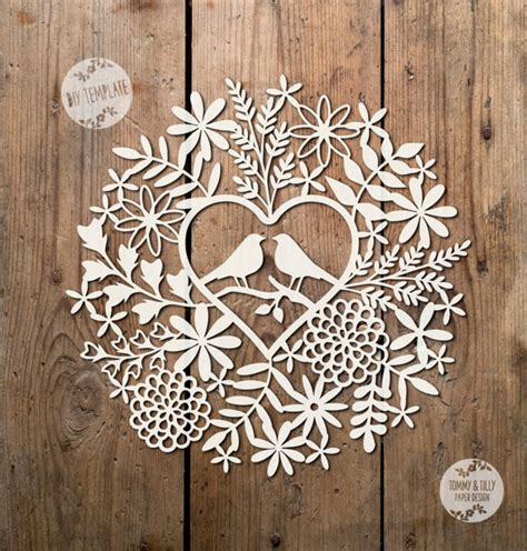 Simple Paper Cutting Designs Patterns - svg pdf birds foliage design papercutting template to