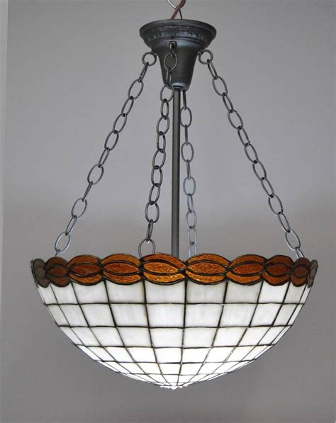 vintage stained glass hanging l heavy colonial ball light fixture with lotez art glass
