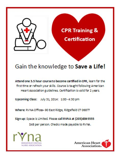 Cpr Training Certification Ridgefield Visiting Nurse Association Aed Program Template