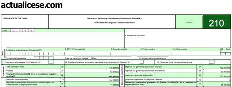 dian declaracion de renta 2014 personas oro formulario 210 para declaraci 243 n de renta 2014 de