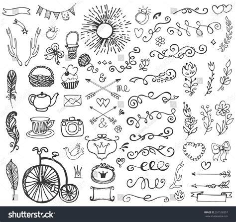 hand draw design elements vector hand drawn vintage floral decorative elementsdesign stock