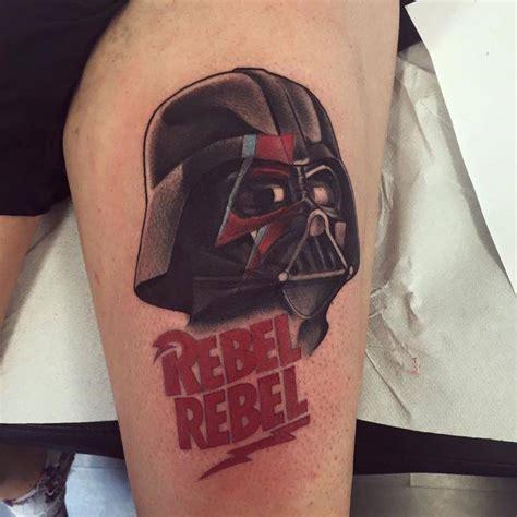 darth vader thigh tattoo geeky tattoos neotraditional david bowie inspired darth vader tattoo