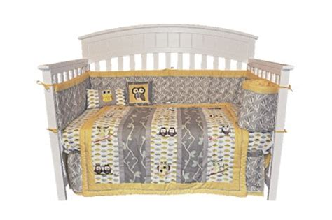 Owl Crib Bedding Unisex Wow Look Unique Gender Neutral 10pc Owl Baby Crib Bedding Set Gray Yellow Green Ebay