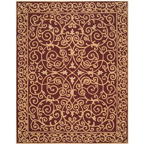 9 X 11 Area Rugs Safavieh Chelsea Burgundy 8 Ft 9 In X 11 Ft 9 In Area Rug Hk11c 9 The Home Depot