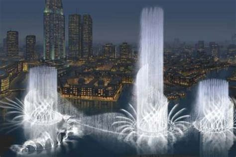 50 story water fountains: dubai to blow water into the