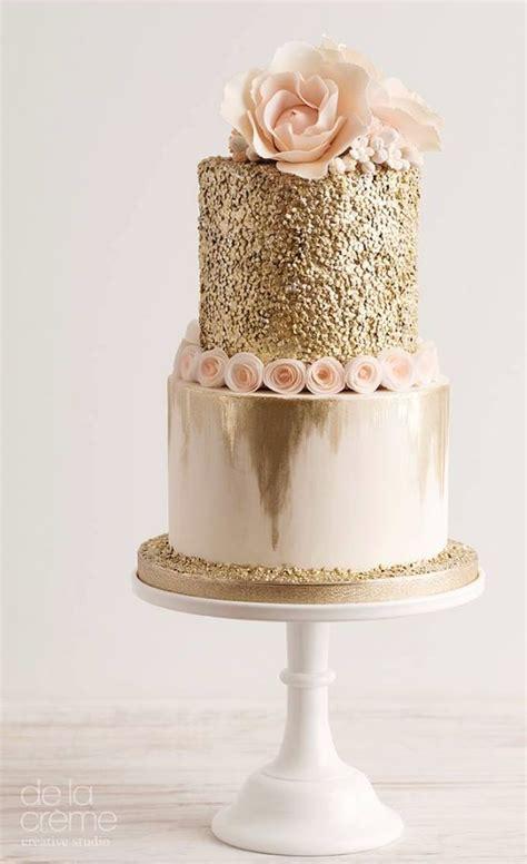 Glitter Gold And Blush Wedding Cake Gold Wedding  Ee  Ideas Ee