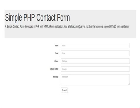 form php template feedback form in html and css free