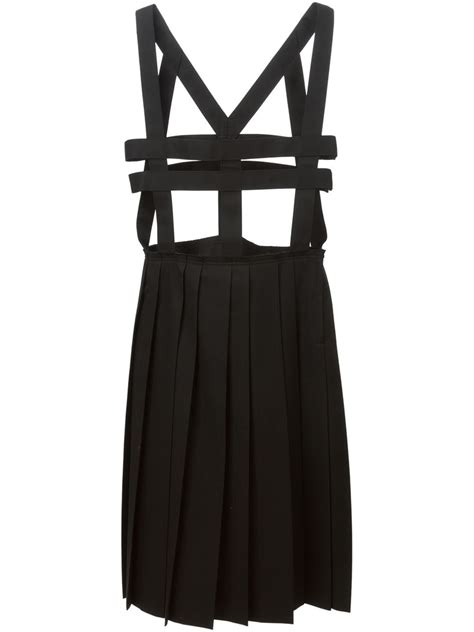 harness dress comme des gar 231 ons pleated skirt harness dress in black lyst