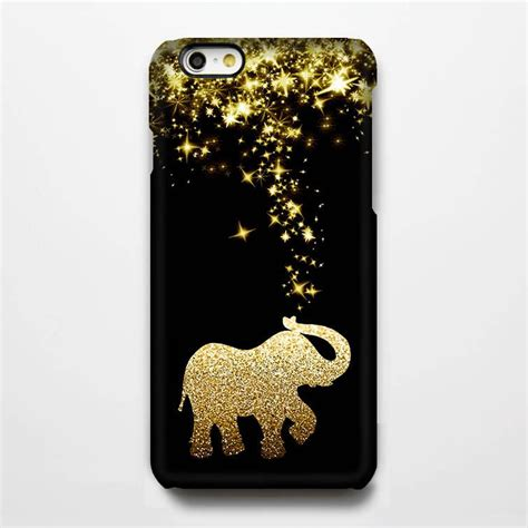 gold glitter stars elephant tough iphone  case