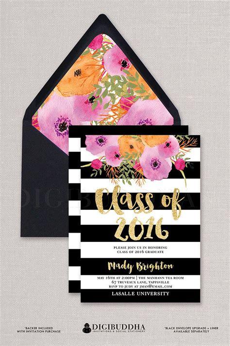 kate spade baby shower invitations quot mady quot black white stripe graduation invitation