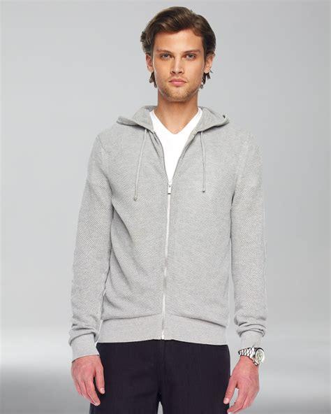 Sweater Zip Hoodie Hearther Grey Zlstore michael kors waffleknit zip sweater in gray for grey lyst