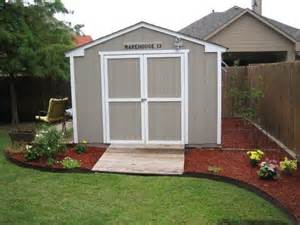 improve the looks of a storage shed landscape around the