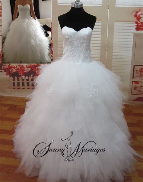 Robe Tulle Mariage - robe de mariee princesse mouchoir de tulle bustier