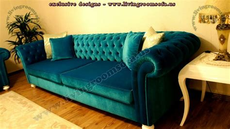 Velvet Chesterfield Sofa Purple Blue Pink Bright Turquoise Chesterfield Sofa