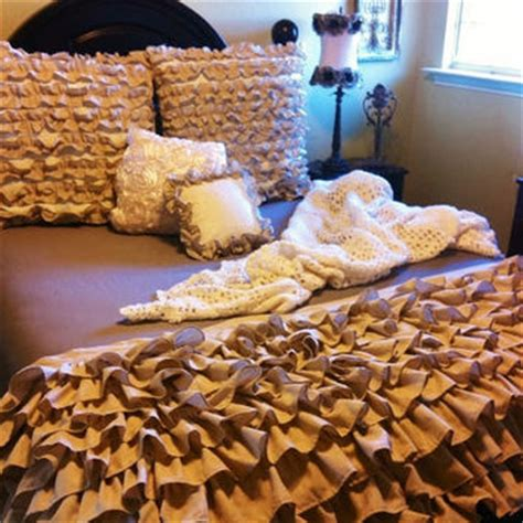 Burlap Bedding Sets Burlap Color Ruffled Bedding From Likemymotherdoes On Etsy