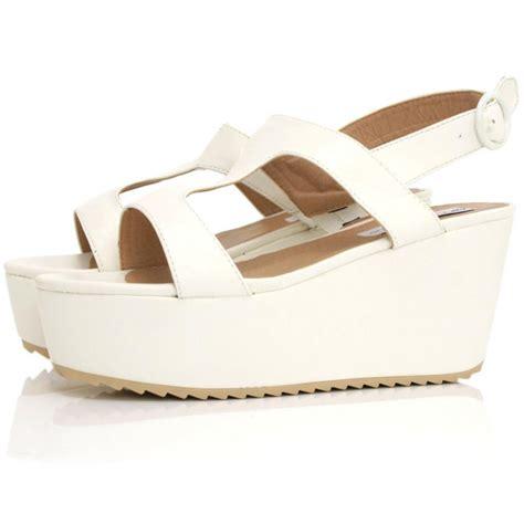 killa flatform platform sandal shoes white leather style