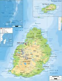 physical map of physical map of mauritius ezilon maps