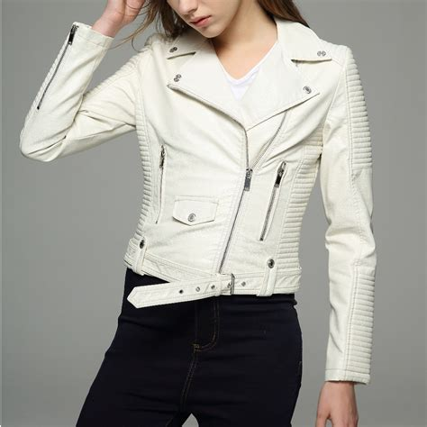 Quickslver Leather Black List White ᗑ sleeves womens jackets jackets 2017 black beige white leather clothing っ slim slim