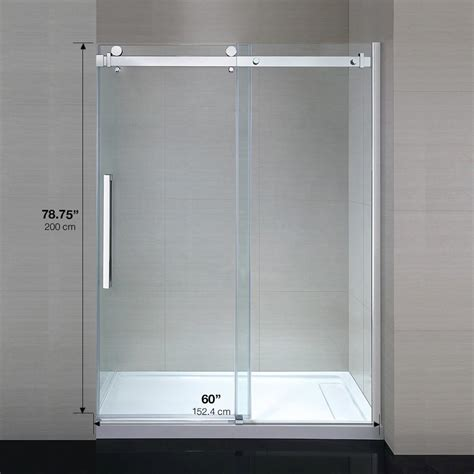 Ove Shower Door Ove Decors 60 In X 79 In Frameless Sliding Shower Door In Chrome Sierra60gp The Home