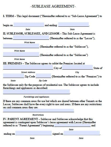 Free Arkansas Sublease Agreement Form Pdf Template Sublease Agreement Sle Legal Free Sublet Lease Agreement Template