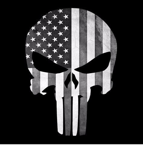 Aufkleber Totenkopf Schwarz by Punisher Skull American Flag Black And White Decal