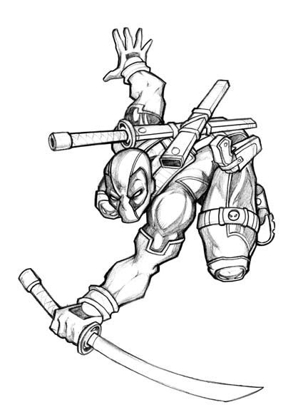 easy little deadpool coloring coloring pages