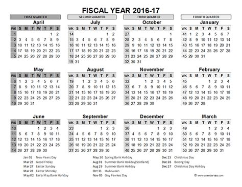 2016 Fiscal Year Calendar Uk 02 Free Printable Templates Accounting Calendar Template