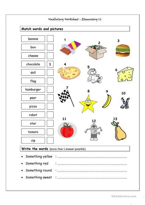 Vocabulary Matching Worksheet by Vocabulary Matching Worksheet Elementary 1 6 Worksheet